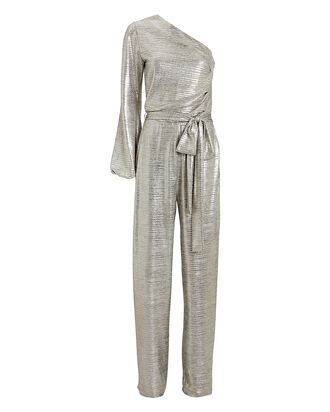 Charlie Metallic One-Shoulder Jumpsuit, METALLIC, hi-res