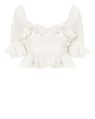 Faiza Cropped Blouse, WHITE, hi-res