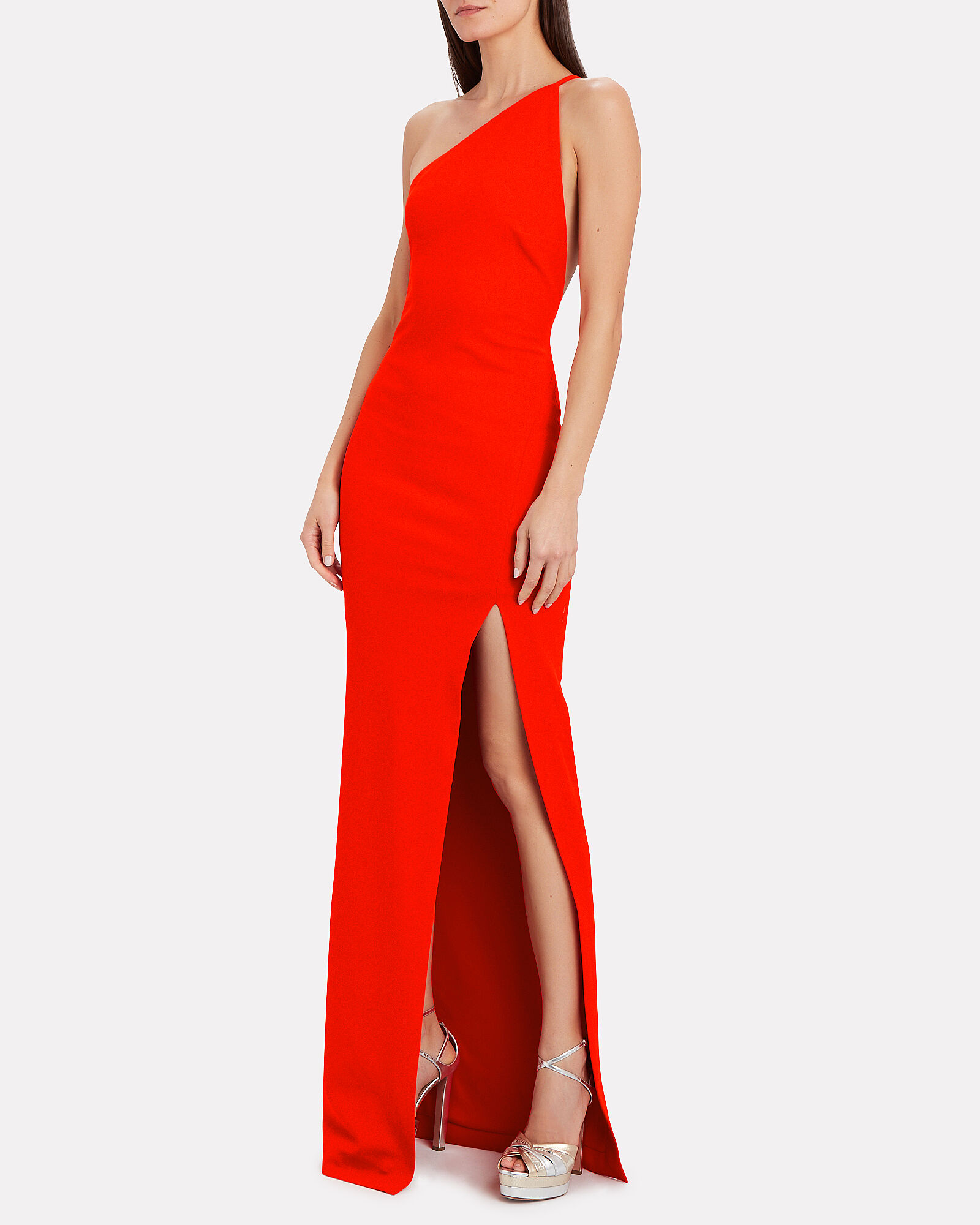 Petch One-Shoulder Gown, RED, hi-res