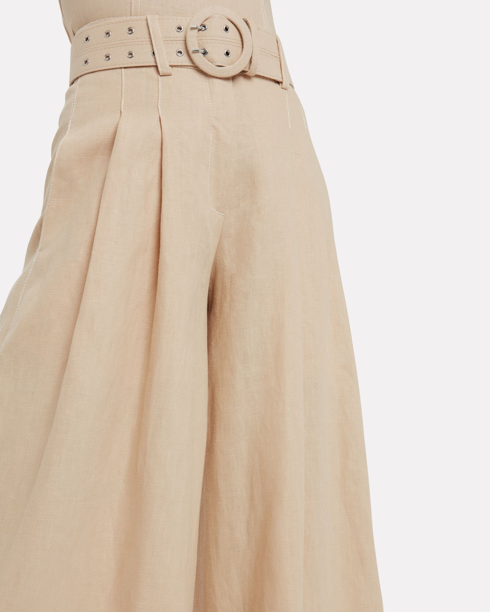 Belted Wide Leg Linen Trousers, IVORY, hi-res