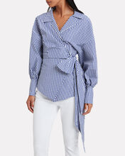 Gingham Wrap Blouse, BLUE/WHITE, hi-res