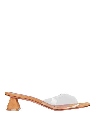 Lupita PVC-Trimmed Suede Sandals, BROWN, hi-res