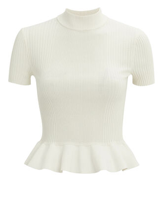 Ribbed Mock Neck Peplum Top, IVORY, hi-res