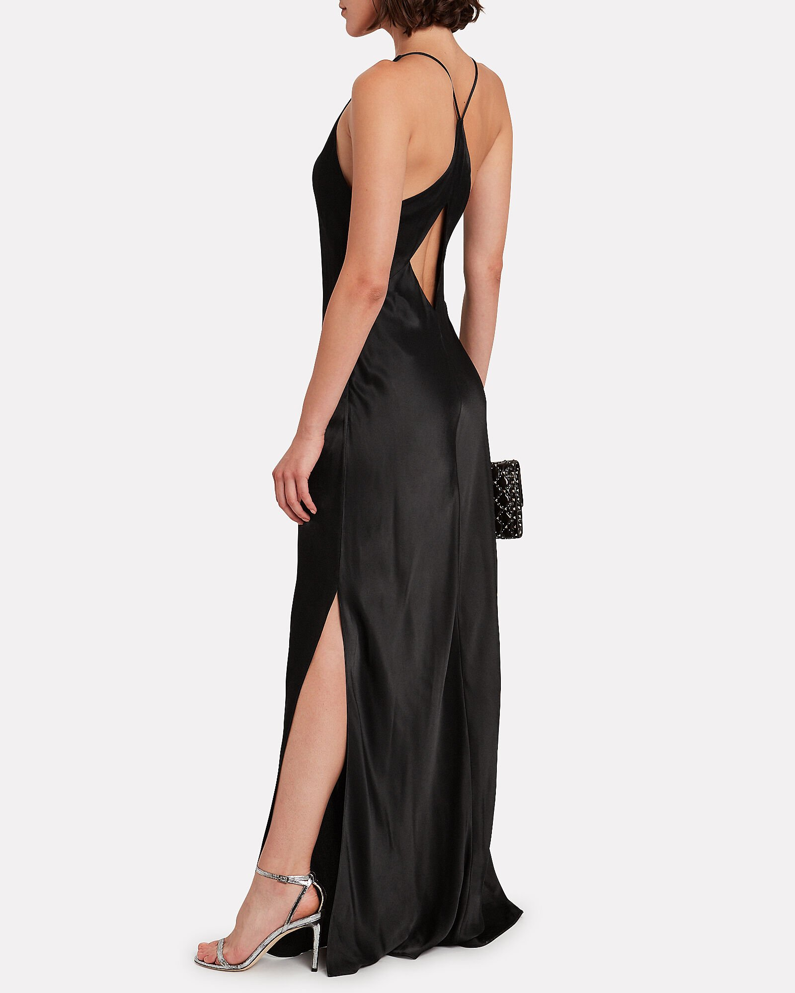 Mia Satin Gown, BLACK, hi-res