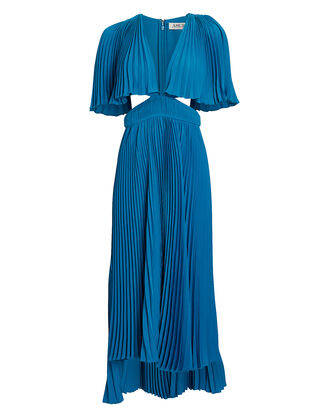 Dara Pleated Cut-Out Dress, BLUE, hi-res