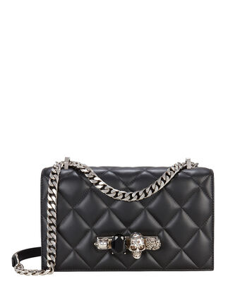 Jewel Knuckle Quilted Chain Strap Shoulder Bag, BLACK, hi-res