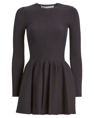 Long Sleeve Knit Mini Dress, BLACK, hi-res