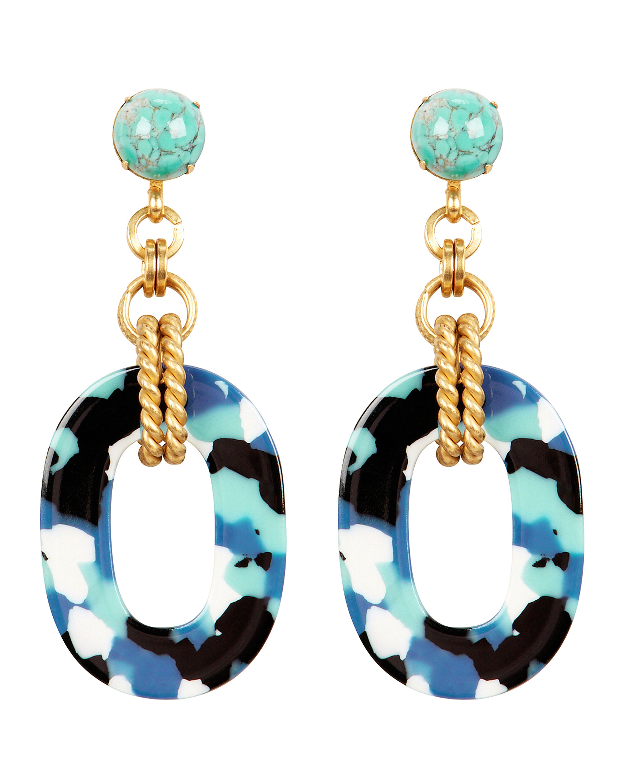 Bennet Glass Drop Earrings, BLUE/BLACK/GOLD, hi-res