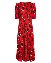 Floating Floral Puff Sleeve Midi Dress, RED/FLORAL, hi-res