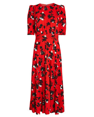 Floating Floral Puff Sleeve Midi Dress, RED, hi-res