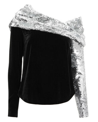 Sequin Twist Top, BLACK/SILVER, hi-res