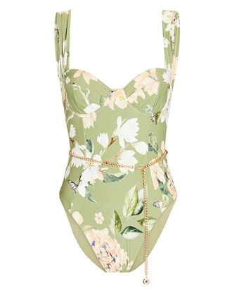 Danielle Belted One-Piece Swimsuit, LIGHT GREEN, hi-res