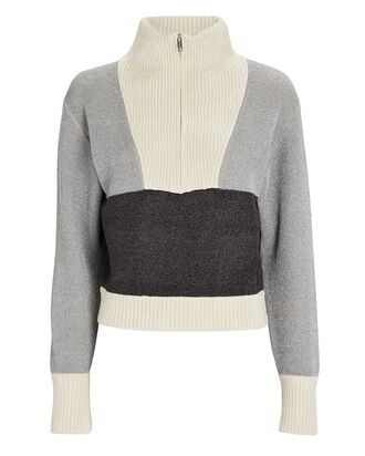 Double-Faced Lurex Half-Zip Sweater, SILVER/GREY/IVORY, hi-res