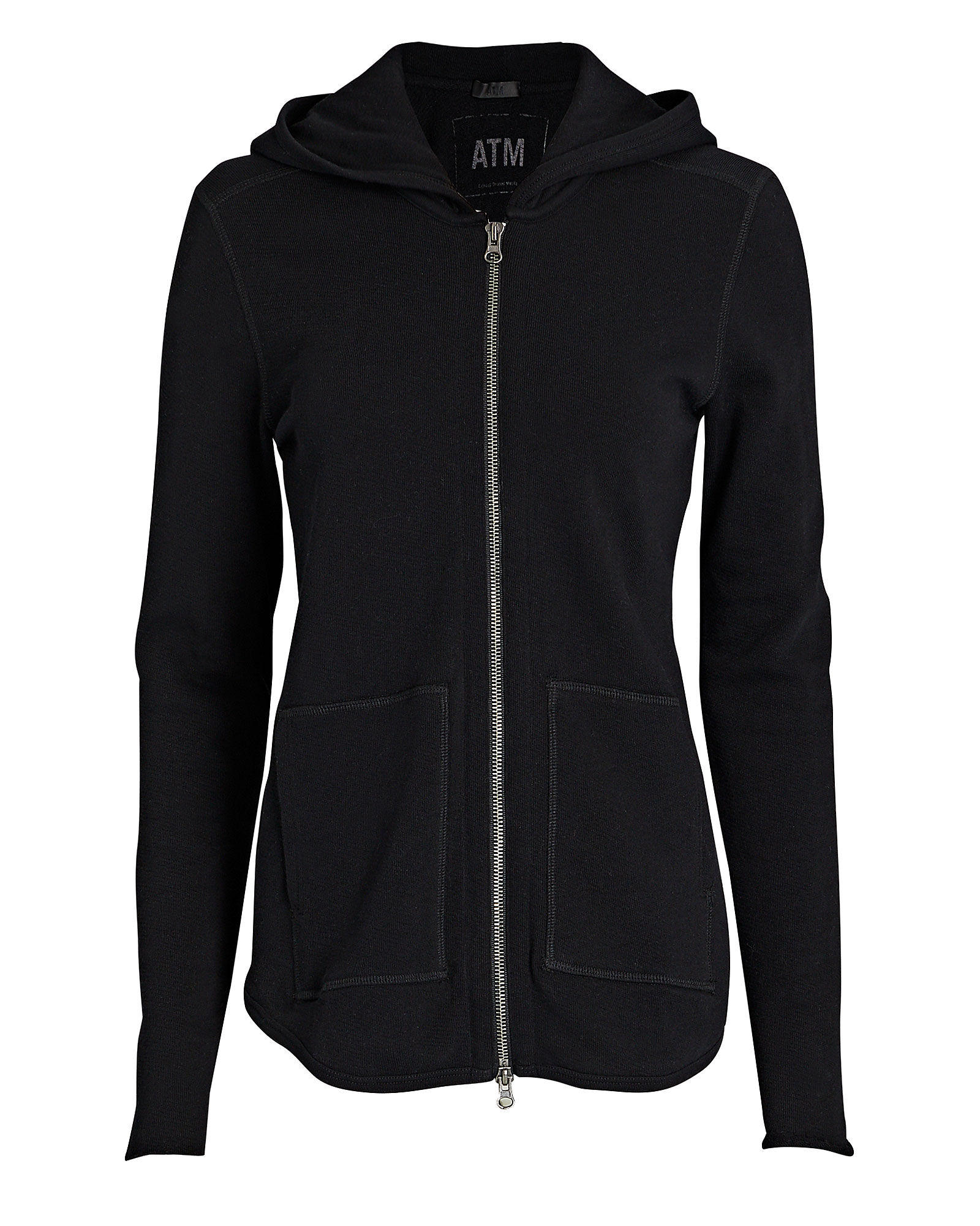French Terry Zip-Up Sweatshirt, FADED BLACK, hi-res