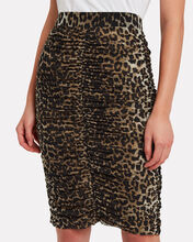 Ruched Leopard Mesh Skirt, MULTI, hi-res