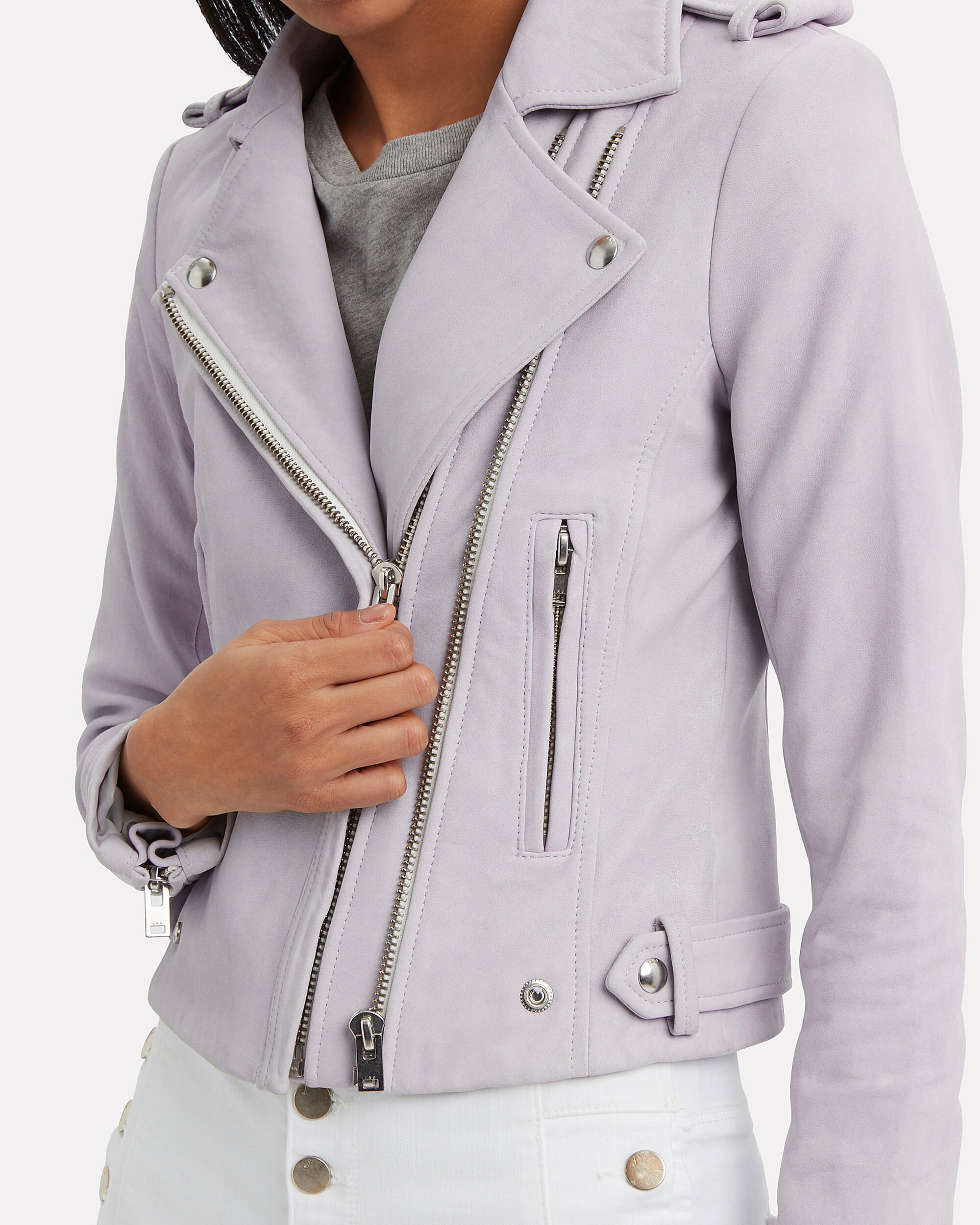 Dylan Cropped Leather Moto Jacket, LILAC, hi-res