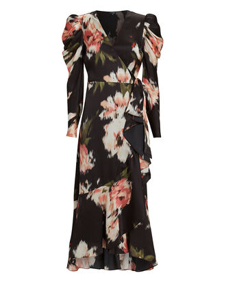Mona Floral Silk Wrap Dress, BLACK/PINK, hi-res