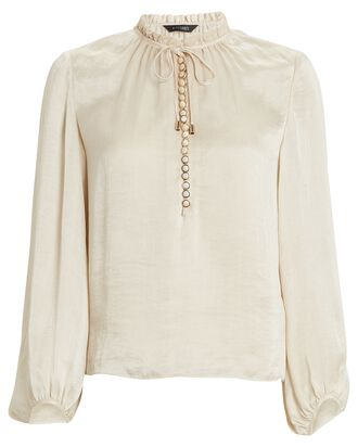 Lizzy Lyocell Button-Down Blouse, IVORY, hi-res