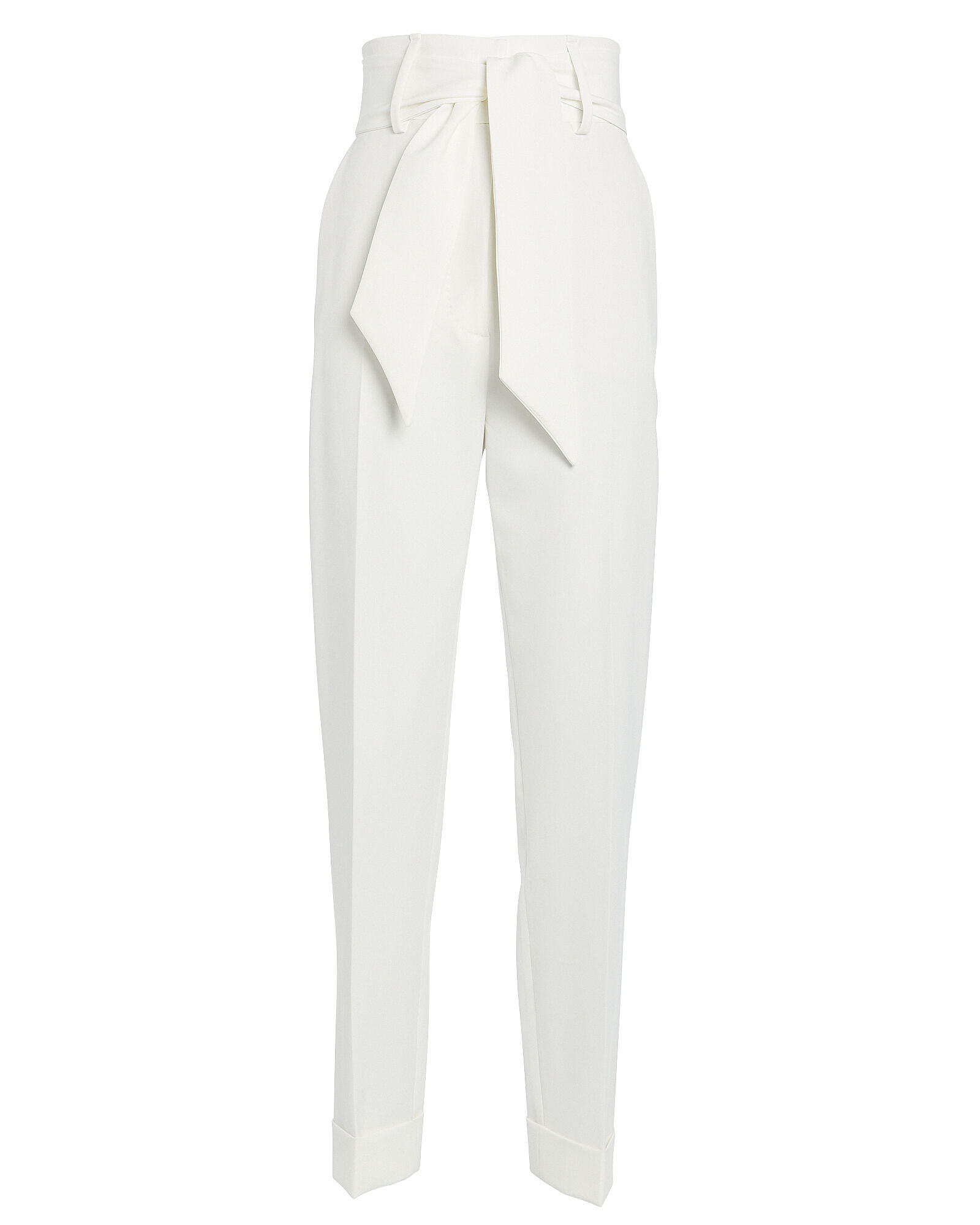 Belted High-Waist Crepe Pants, WHITE, hi-res