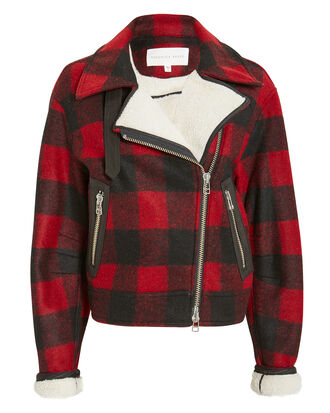 Benni Moto Jacket, RED PLAID, hi-res