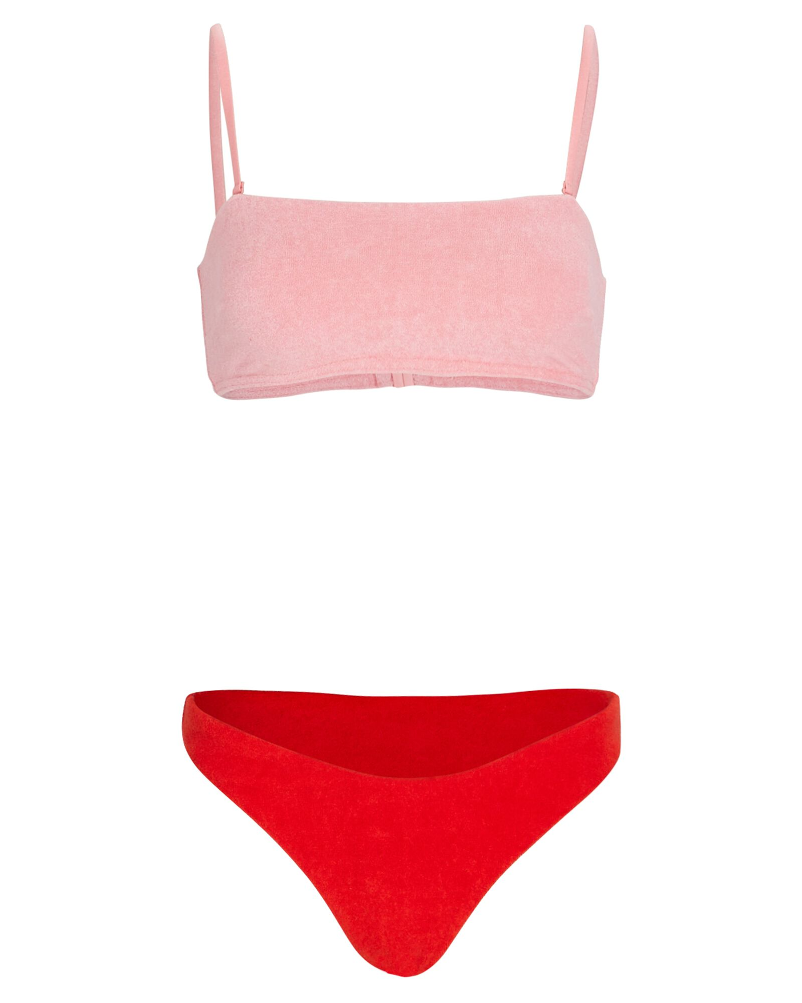 Poppy Terry Bandeau Bikini Set, PINK/RED, hi-res