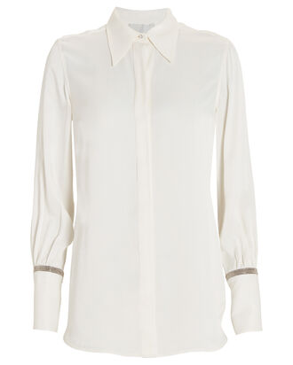 Crystal-Embellished Button Down Shirt, IVORY, hi-res
