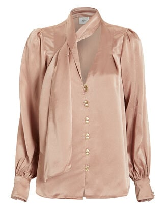 Astrid Hammered Silk Button Front Blouse, CAMEL, hi-res
