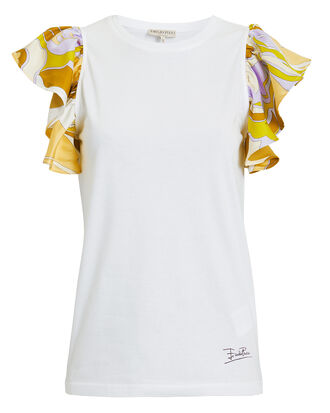 Printed Ruffle Sleeve White Top, WHITE/PRINT, hi-res