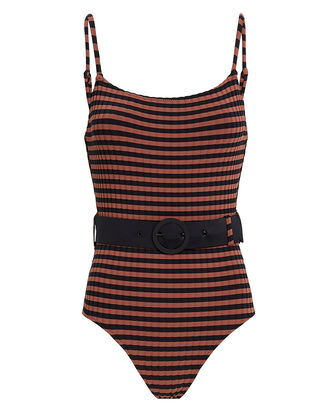 Nina Belted One Piece Striped Swimsuit, MAROON/BLACK, hi-res