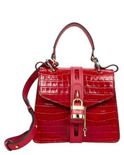 Small Aby Croc-Embossed Padlock Satchel, RED, hi-res