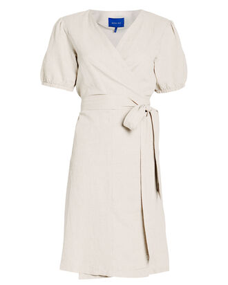 Othena Puff Sleeve Wrap Dress, BEIGE, hi-res