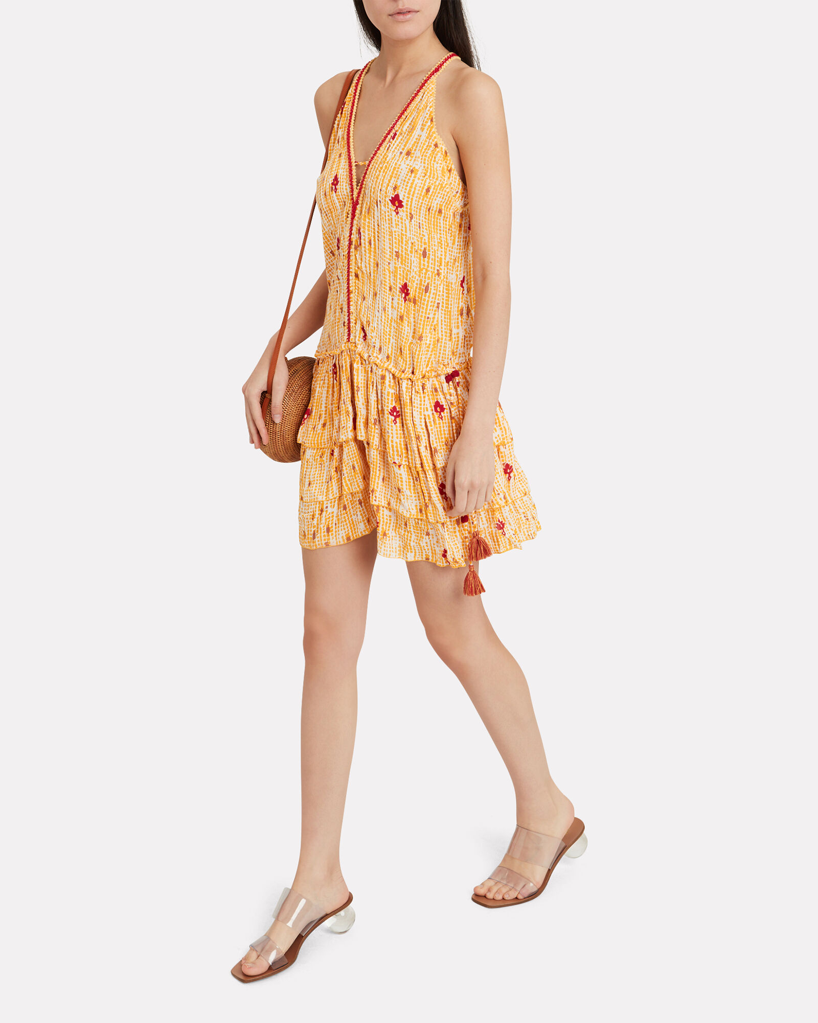 Bety Sleeveless Floral Dress, YELLOW, hi-res