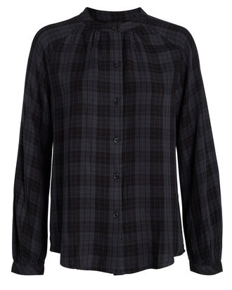 Edith Plaid Blouse, BLUE/PLAID, hi-res