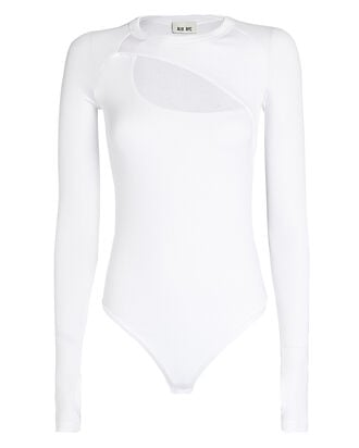 Summit Cut-Out Bodysuit, WHITE, hi-res