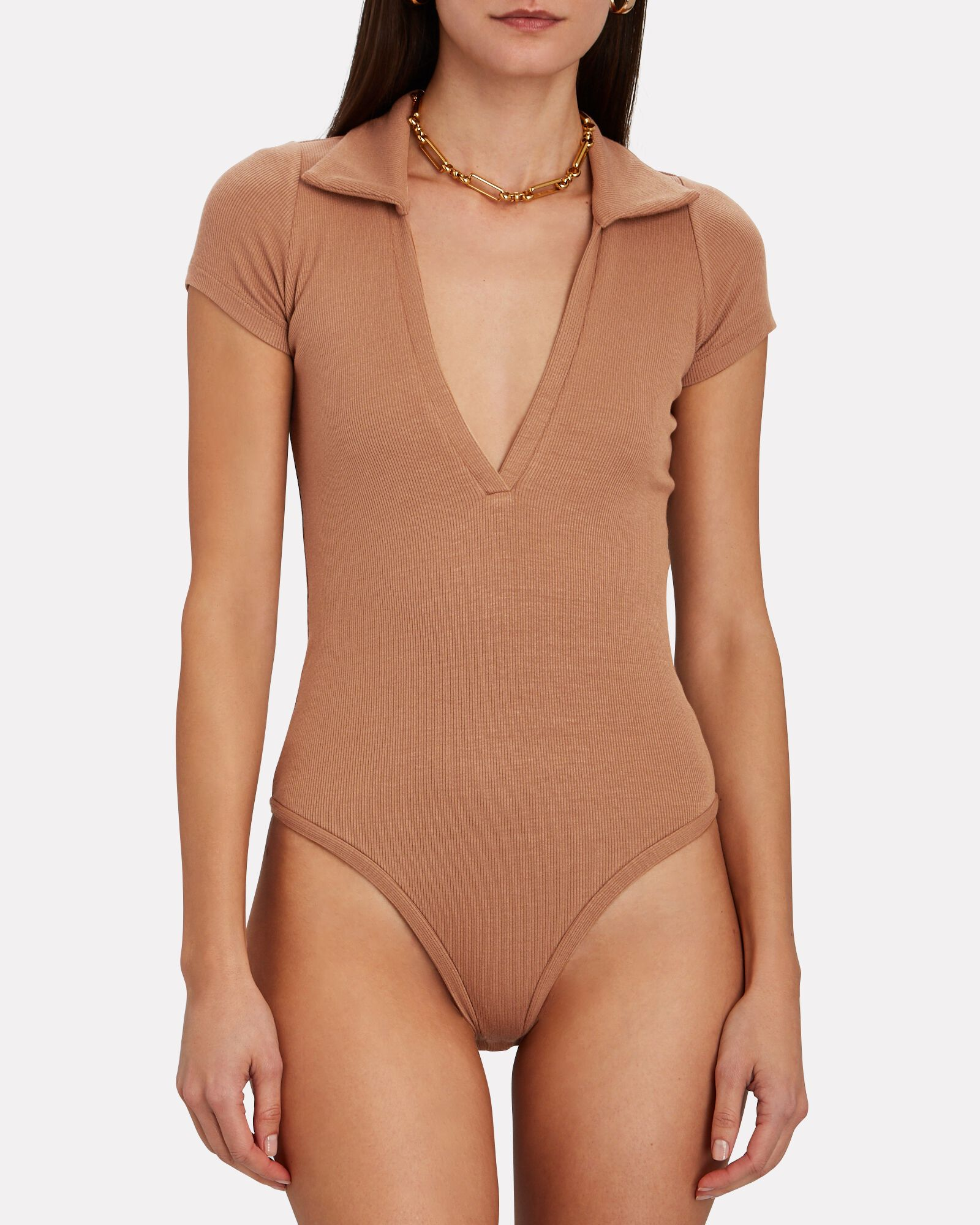 Moore Rib Knit Polo Bodysuit, BROWN, hi-res