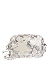 Logo Star Python-Effect Crossbody Bag, SILVER, hi-res