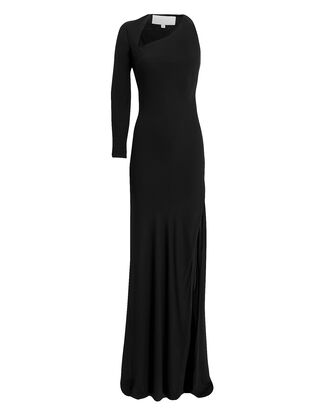 Asymmetric Cutout Gown, BLACK, hi-res