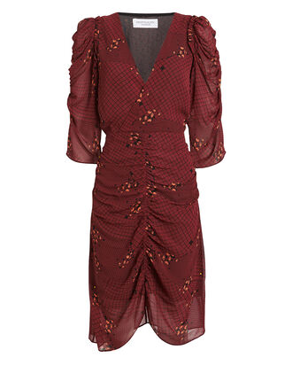Lea Ruched Georgette Dress, MAHOGANY/CHECK, hi-res