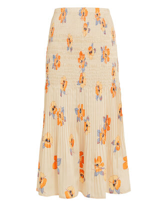 Smocked Floral Midi Skirt, MULTI, hi-res