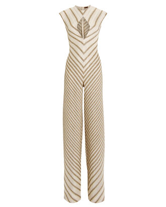 Gold Striped Cut-Out Jumpsuit, CREAM/GOLD, hi-res