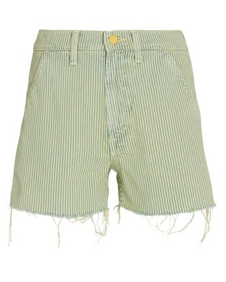 Utility High-Rise Striped Denim Shorts, LEMON DROP, hi-res