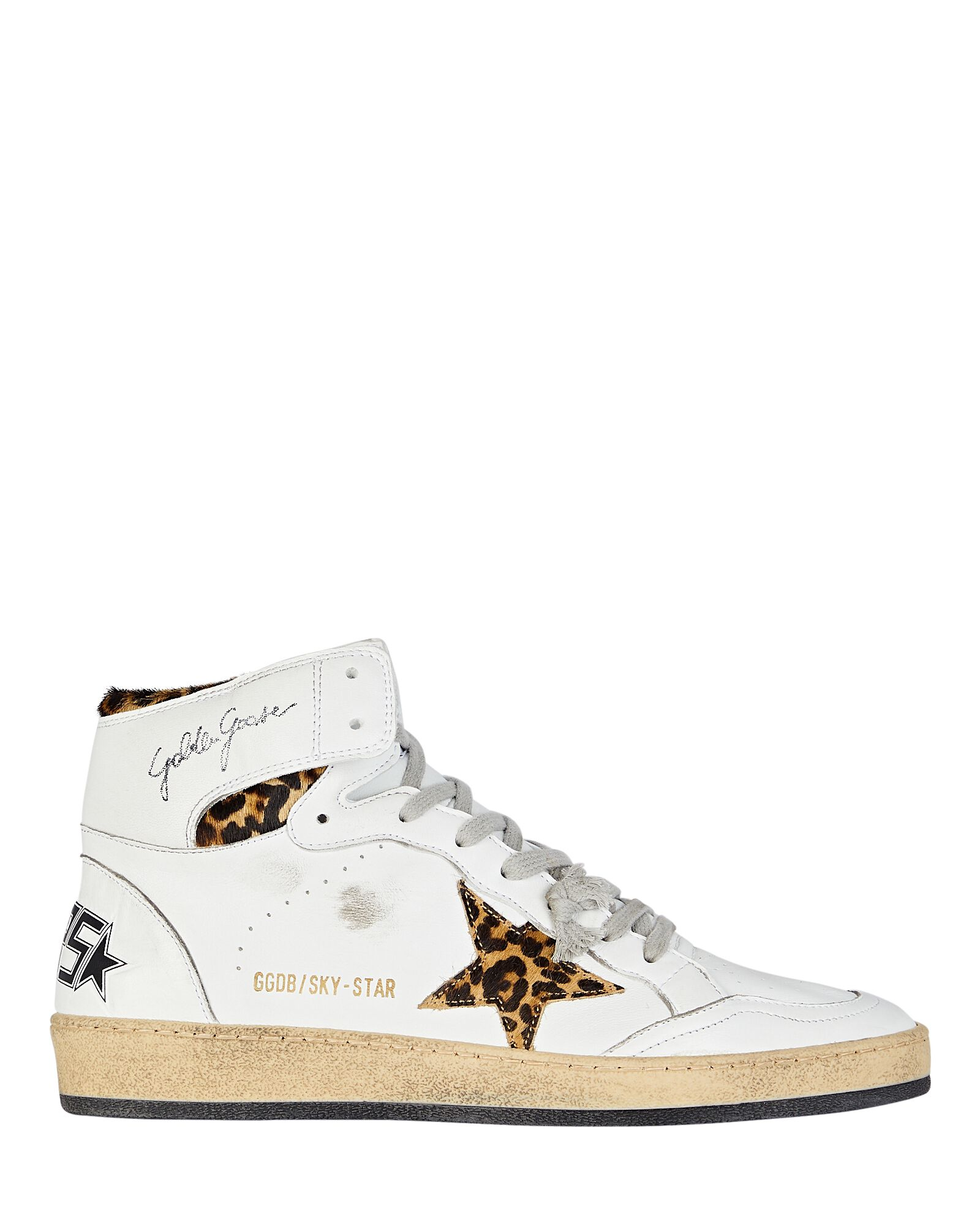 Sky Star Leather High-Top Sneakers, WHITE, hi-res