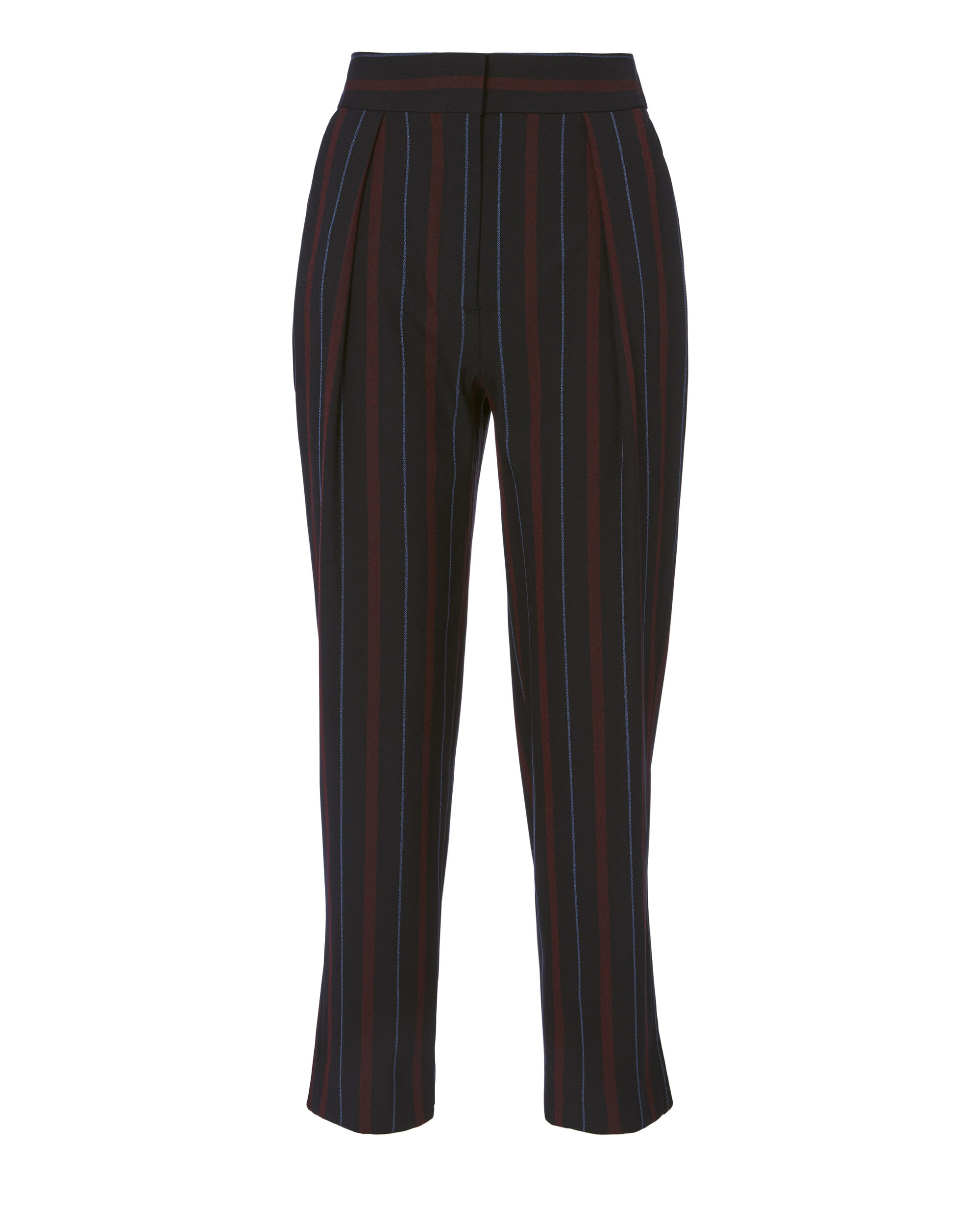 Striped Crop Trousers, NAVY, hi-res