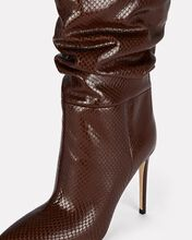 Slouch Python-Embossed Boots, BROWN, hi-res