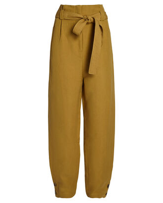 High-Rise Silk-Linen Pants, BEIGE, hi-res