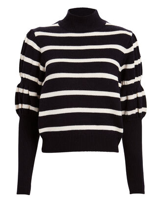 Elani Striped Wool Mock Neck Sweater, BLACK/WHITE, hi-res