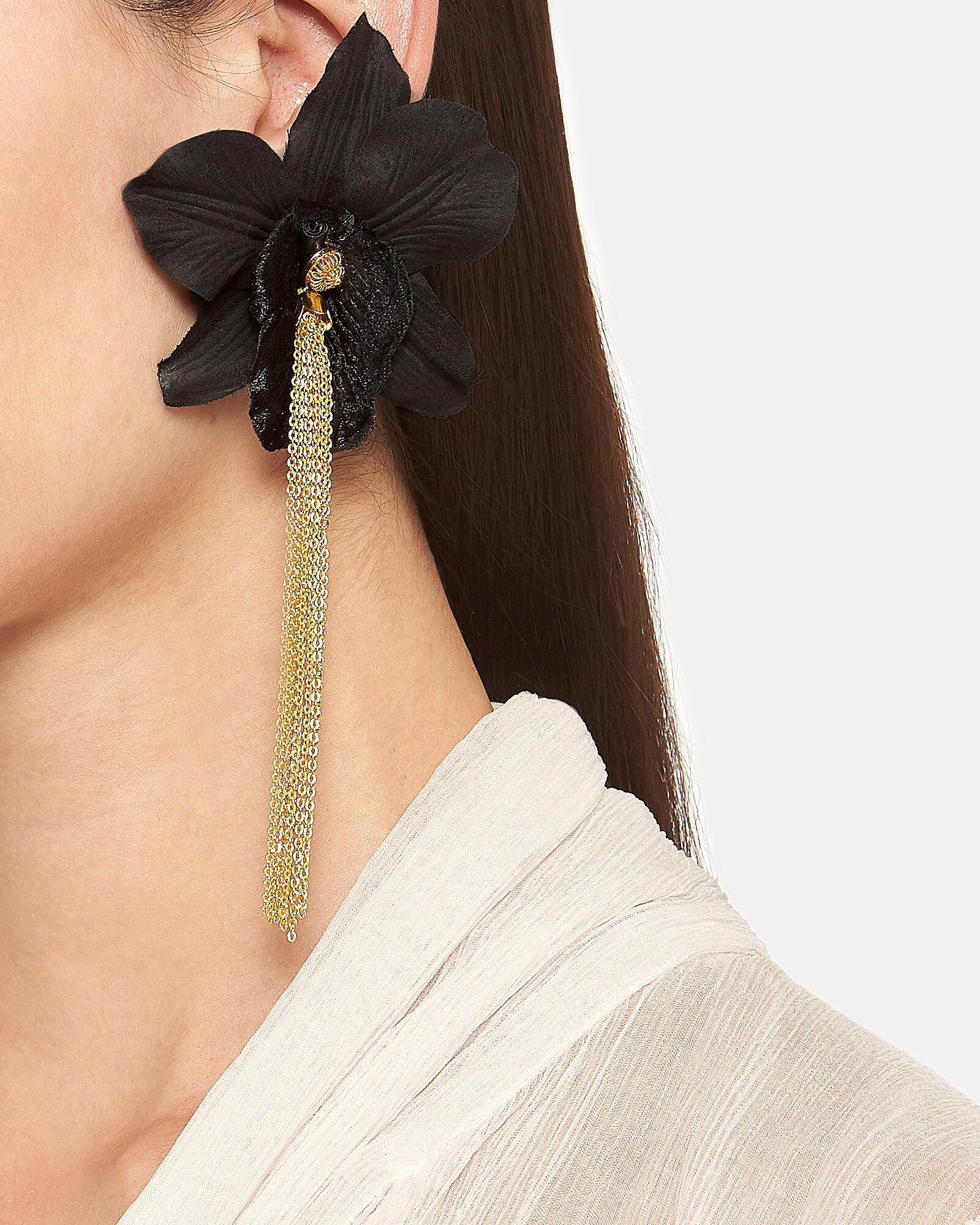 Orchid Chain Drop Earrings, BLACK, hi-res