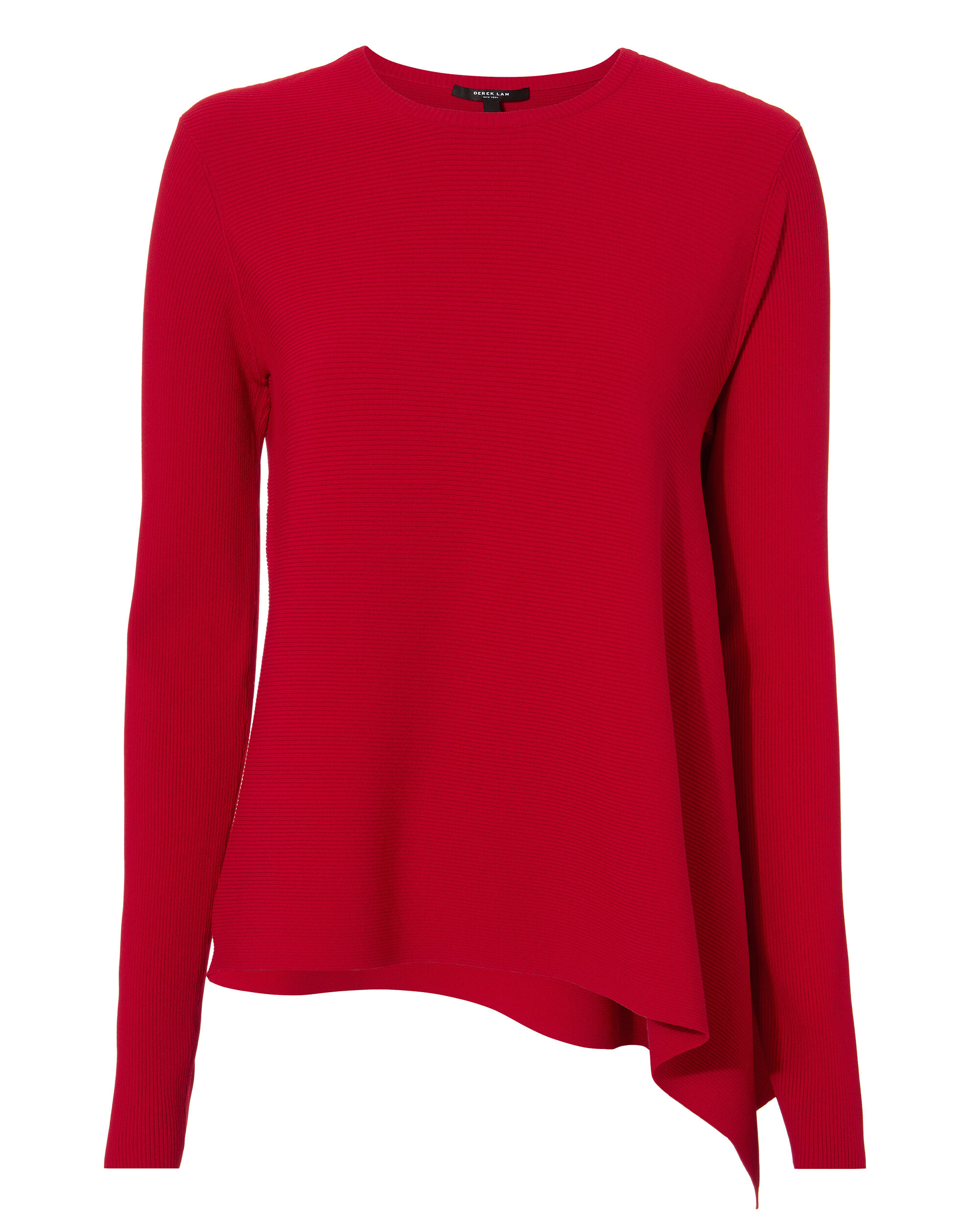 Asymmetrical Ribbed Red Sweater, RED, hi-res