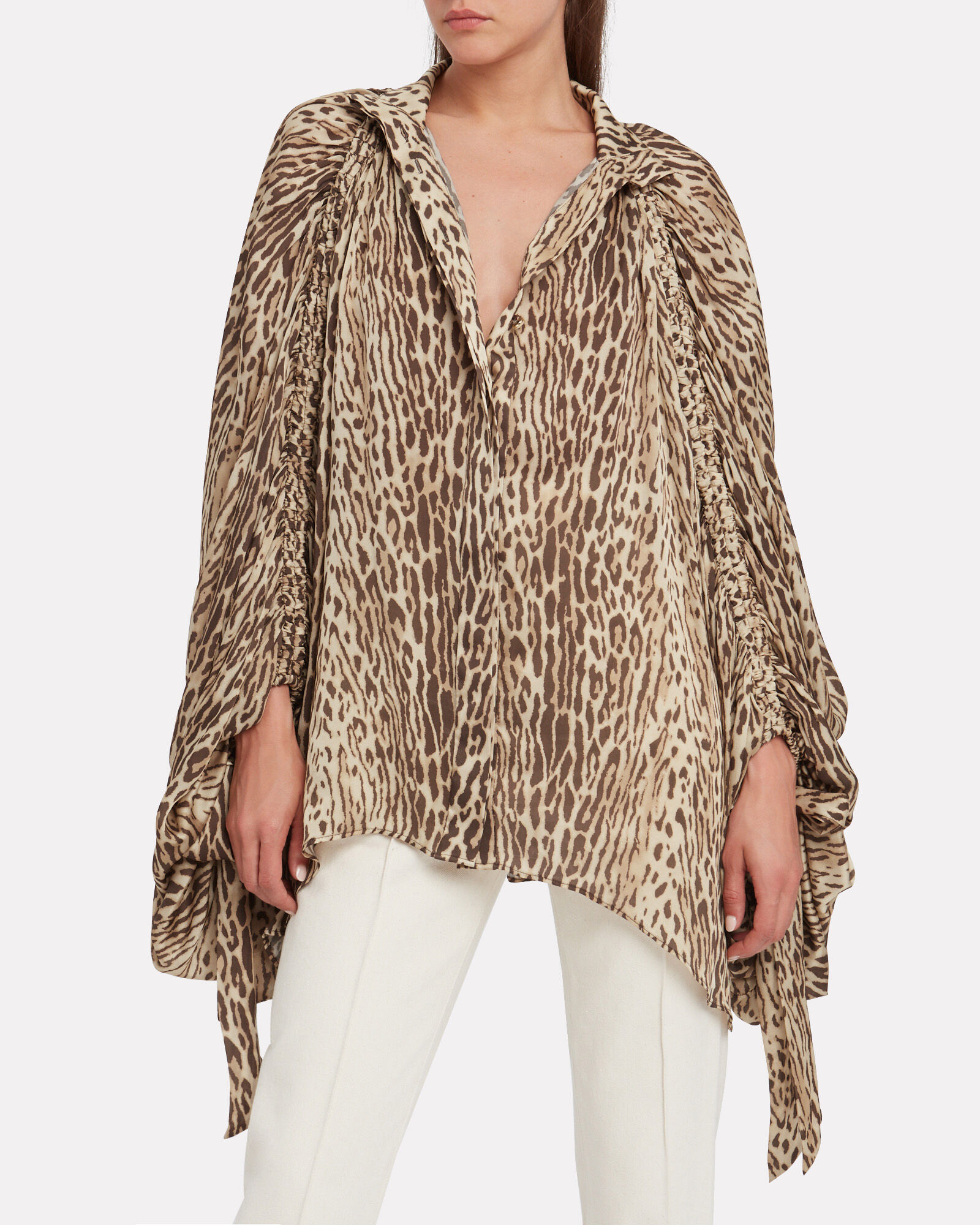 Espionage Batwing Leopard Silk Blouse, LEOPARD/BROWN, hi-res