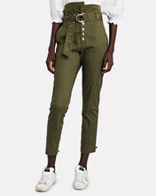 Gia Belted Paperbag Pants, OLIVE/ARMY, hi-res